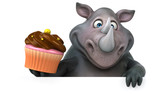 Fun rhinoceros - 3D Illustration - 221783509