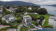Aerial view of Velden Am Worthersee on beautiful lake Worthersee in Austria - 221783733