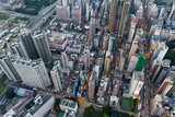 Drone fly over Hong Kong downtown - 221785745