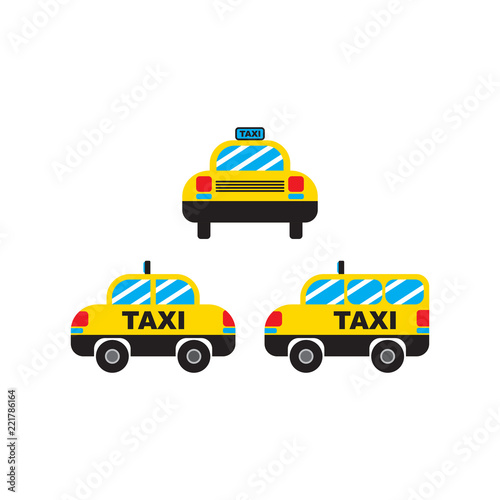 Tapeta Taxi Transport Car Cab Vector and Icon for App and Website Isolated