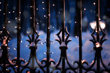 Festive illumination on the fence in the evening winter time, abstract Christmas New Year beautiful festive winter background and texture - 221787935