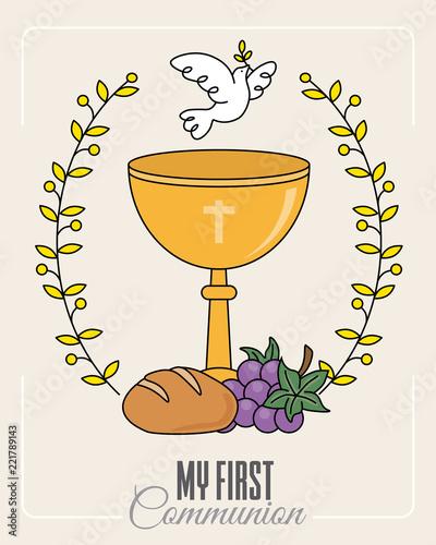 communion card. Chalice and white dove