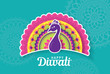 Diwali festival greeting card with colorful peacock