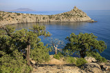 The nature reserve in the Crimea, a picturesque view of the sea, pine trees and cape Kapchik - 221793371