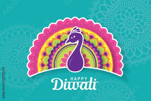 Fototapeta Diwali festival greeting card with colorful peacock