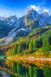 Leinwanddruck Bild - Beautiful view of idyllic colorful autumn scenery in Gosausee lake Austria