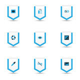 Picture icons colored set with eyedropper, exposure, high dynamic range and other eyesight  elements. Isolated vector illustration picture icons. - 221795519