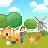 Cartoon concept on a agricultural theme. Rural scene with woman and poultry. Poultry yard. Vector illustration - 221796599