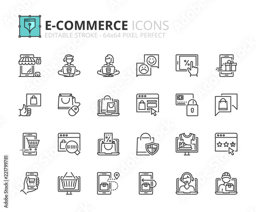 Outline icons about ecommerce - 221799781