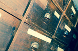 Facades of wooden drawers retro - 221801168