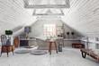 attic bathroom interior.