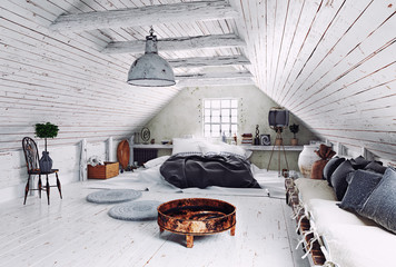 modern attic bedroom design.