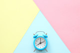 Abstract pastel colored paper texture. Minimal geometric shapes and lines. trendy design concept. vintage clock