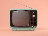 Fototapety Blue tv on pink background 3D illustration