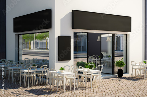 Sticker cafe store with terrace on the street mockup
