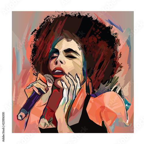 Fototapeta Jazz singer with microphone
