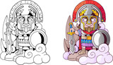 cartoon ancient greek god ares with sword in hand, funny illustration coloring book