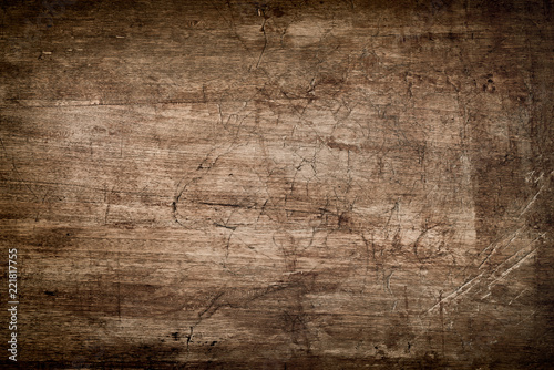Dark Brown Wood Texture with Scratches - 221817755