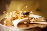 Festive golden table setting - 221818770