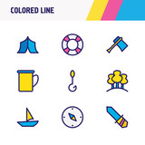 Vector illustration of 9 camping icons colored line. Editable set of knife, compass, lifebuoy and other icon elements. - 221820162