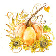 Leinwandbild Motiv Pumpkin with sunflowers. Hand drawn watercolor painting on white background. Watercolor illustration with a splash.