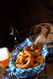 real homemade bavarian salty pretzel with beer - 221822958