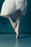 Close-up classic ballerinas legs in pointes on the gray wooden floor. Ballerina project with caucasian model. The ballet, dance, art, contemporary, choreography concept - 221828730
