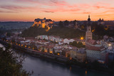 Burghausen city with the longest castle of the world shot at blue hour - 221832167