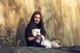 girl and polar fox together - 221836740