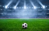 Ball on gras in soccer stadium - 221840137