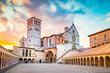 Leinwanddruck Bild - Basilica of St. Francis of Assisi at sunset, Assisi, Umbria, Italy