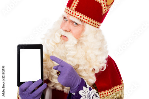 Saint Nicholas with tablet or smart phone