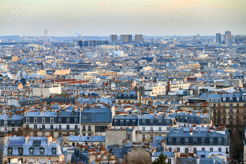 Beautiful Paris afternoon cityscape seen from Montmartre