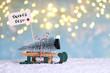 Leinwandbild Motiv Weihnachtsbaum mit Schlitten holen