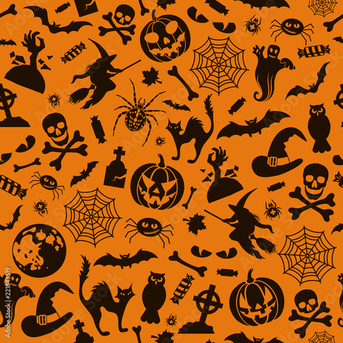 Seamless Halloween Pattern - 221843519