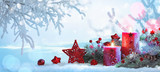 Christmas Decorations With Candles On a Snowy Background - 221845535