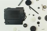 The camera shutter equipment on white paper for background. - 221845541