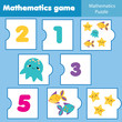 Math educational game for children. Matching mathematics puzzles. Counting game for kids and toddlers