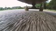 Under Skateboarding view, skateboard rolling in the street video HD Slow motion