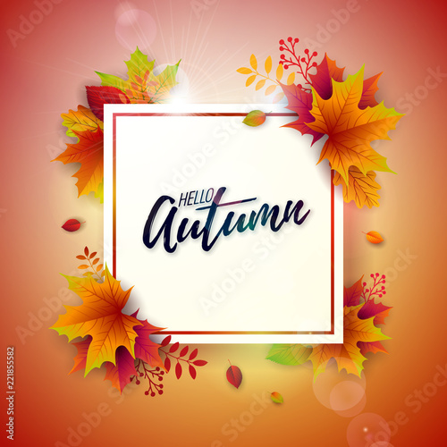 Autumn Illustration with Colorful Falling Leaves and Lettering on White Background. Autumnal Vector Design for Greeting Card, Banner, Flyer, Invitation, Brochure or Promotional Poster.