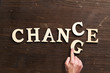 """Leinwanddruck Bild - Hand changes one of six letters, turning the word """"change"""" to """"chance"""""""