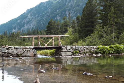 Fototapeta Small wooden bridge near lake Popradske pleso in Tatra mountains.