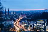 Bielefeld in der blauen Stunde, Aussicht vom Johannisberg