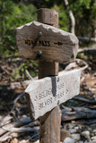 Weather worn wooden trail signs along the John Muir Trail in California - 221862982