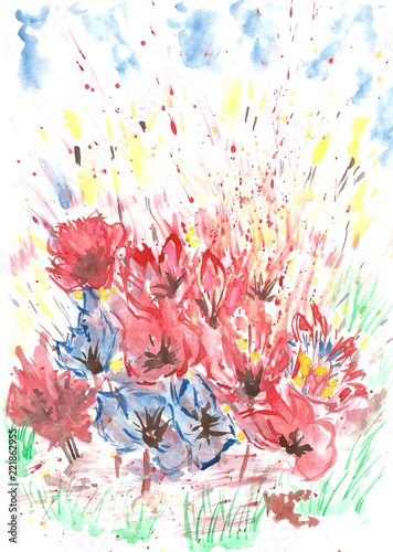 Fototapeta Abstract meadow watercolor painting for design
