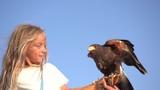 Blond girl blue eyes together hawk eagle. - 221863500