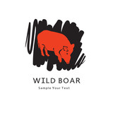 Red boar on black - graphic illustration. Monochrome icon of wild animal, vector clip art, design element for logo.  - 221868113