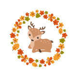 Vector autumn background with cute deer