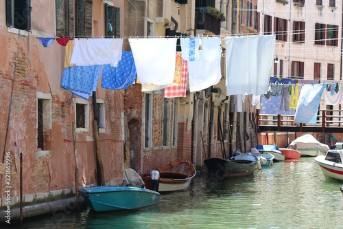 Quiet canal in Venice, Italy - 221869996