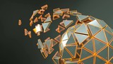 Spinning polyhedron with glowing orange edges. Abstract futuristic technology or science fiction concept. Seamless loop 3D render animation 4k UHD 3840x2160
